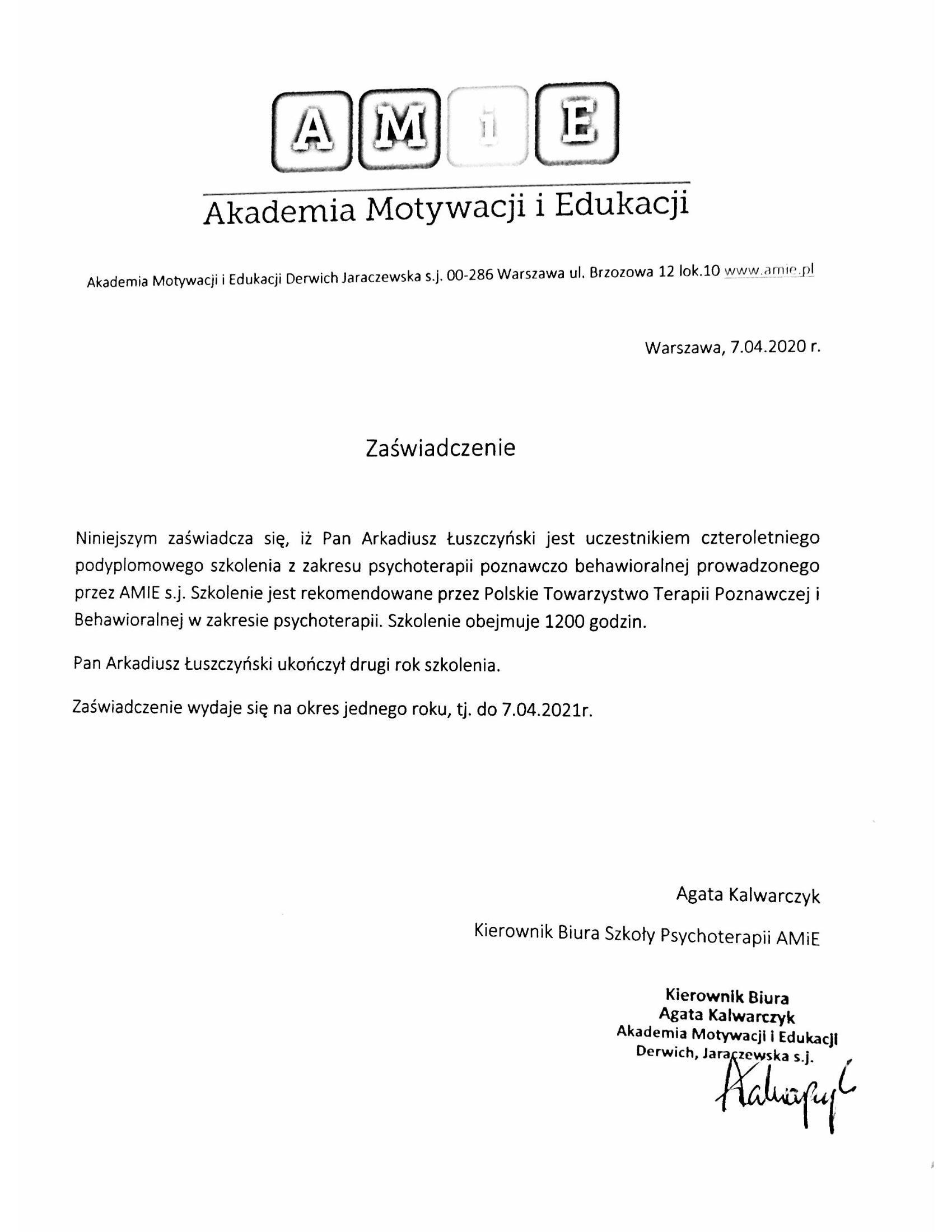 Arkadiusz-Łuszczyński-zaśwaidczenie