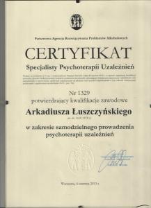 Certyfikat specjalisty psychoterapiiu uzależnień