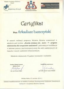 Certyfikat Szkolenie z uzależnień behawioralnych